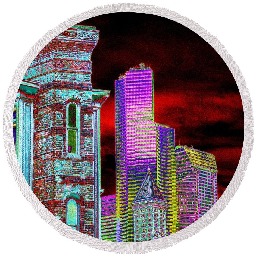 Seattle Round Beach Towel featuring the digital art Old And New Seattle by Tim Allen
