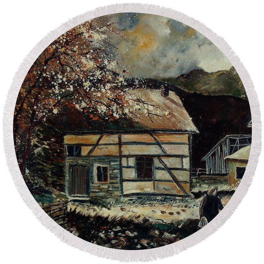 Village Round Beach Towel featuring the painting Old Ardennes 56 by Pol Ledent
