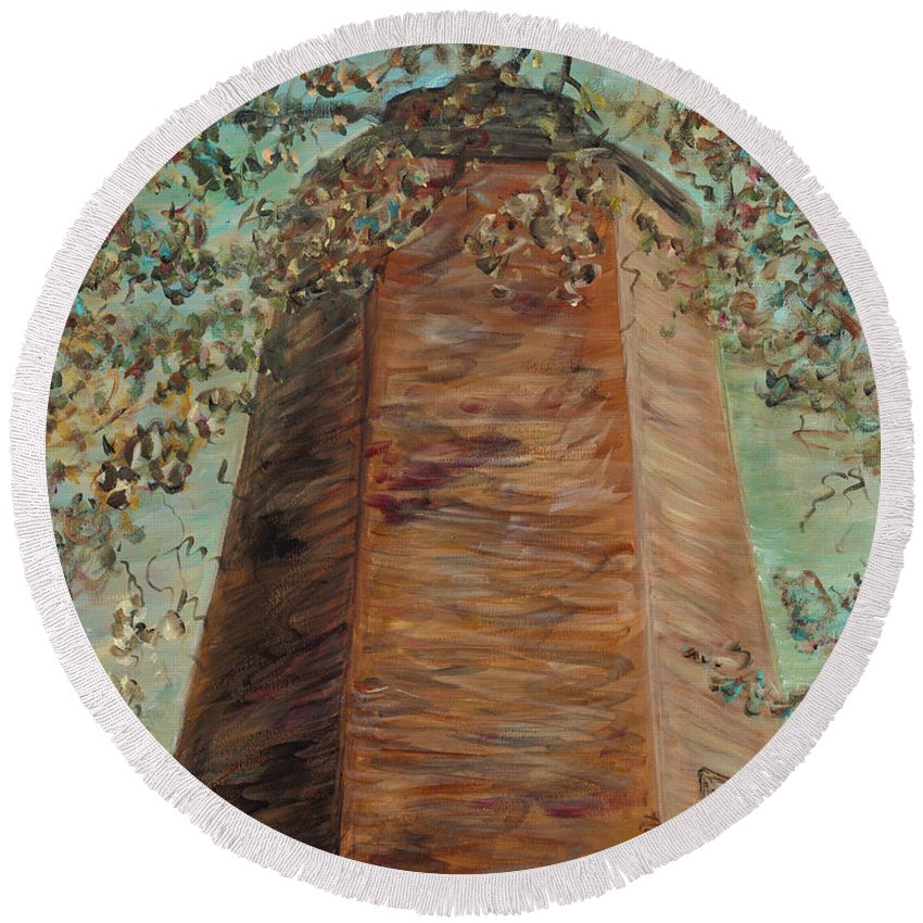 Old Baldy Round Beach Towel featuring the painting Old Baldy Light House in Teal by Nadine Rippelmeyer