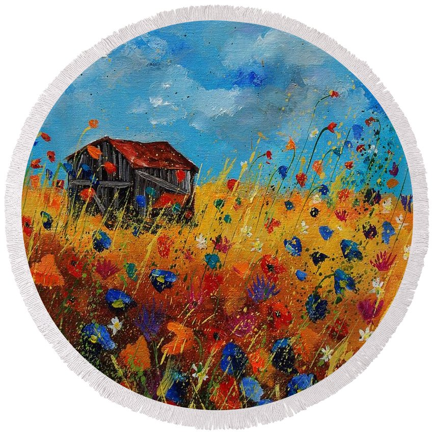 Flowers Round Beach Towel featuring the painting Old Barn And Wild Flowers by Pol Ledent