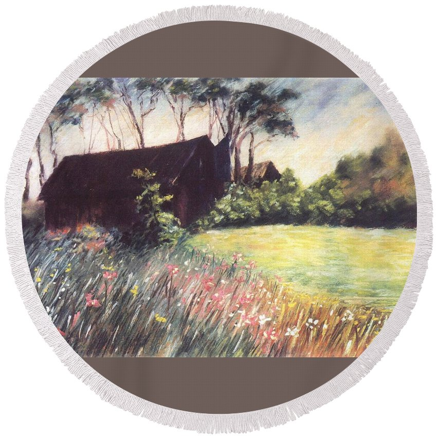 Barn Flowers Wildflowers Round Beach Towel featuring the pastel Old Barn And Wildflowers by Pat Snook