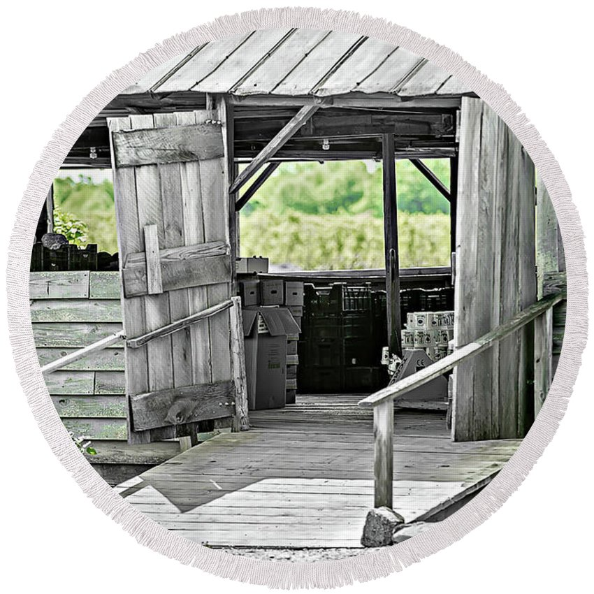 Barn Round Beach Towel featuring the photograph Old Barn At The Farm On Sunny Day by Alex Grichenko