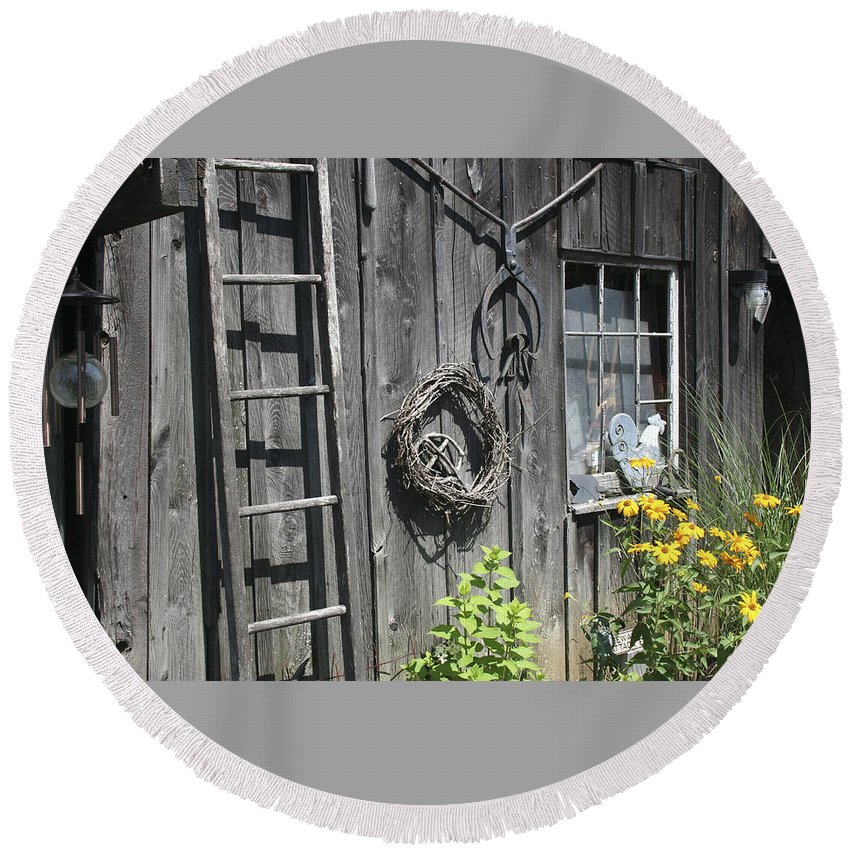 Barn Round Beach Towel featuring the photograph Old Barn II by Margie Wildblood