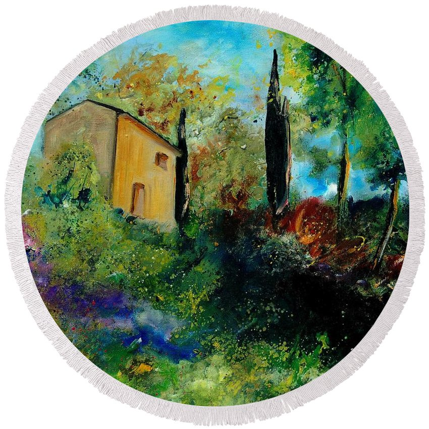 Provence Round Beach Towel featuring the painting Old Barn In Provence by Pol Ledent