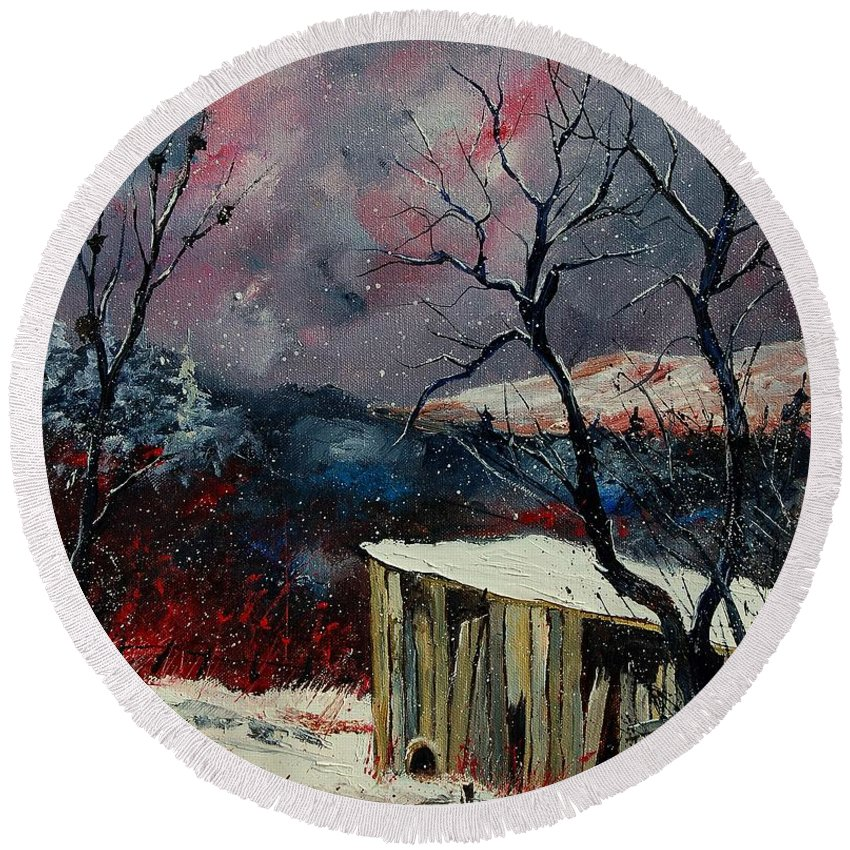 Winter Round Beach Towel featuring the painting Old Barn In Winter by Pol Ledent