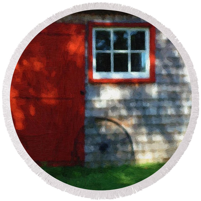 Autumn Round Beach Towel featuring the painting Old Barn New Paint by RC DeWinter