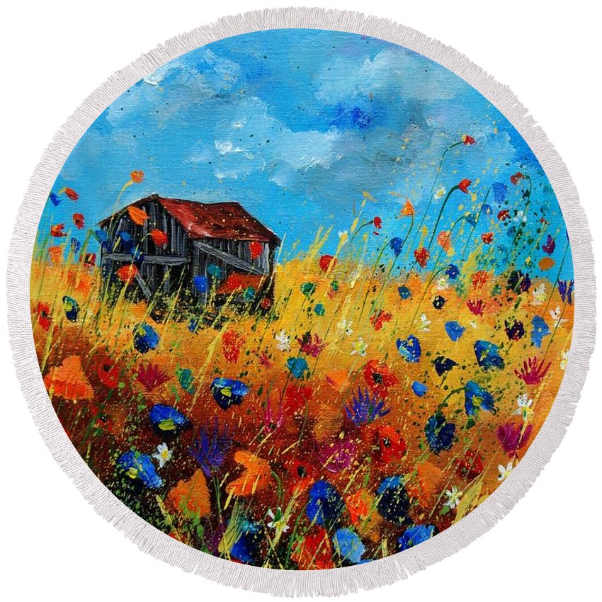 Poppies Round Beach Towel featuring the painting Old barn by Pol Ledent
