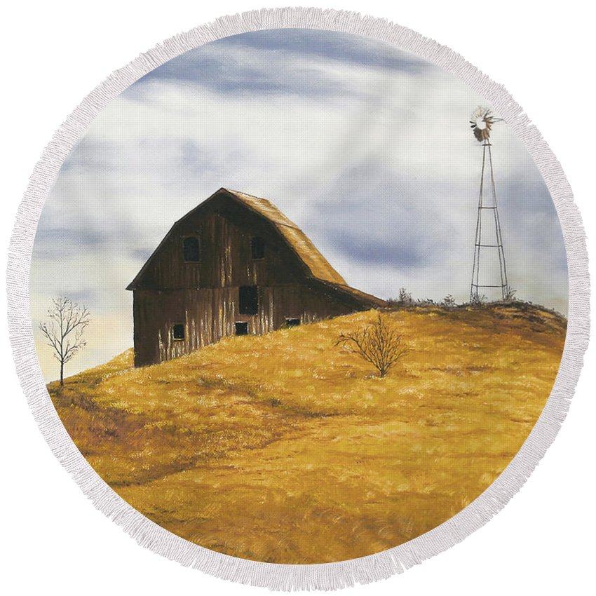 Nature Round Beach Towel featuring the painting Old Barn With Windmill by Johanna Lerwick