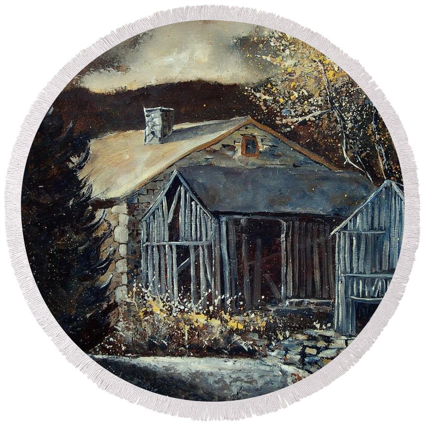 Village Round Beach Towel featuring the painting Old Barns by Pol Ledent