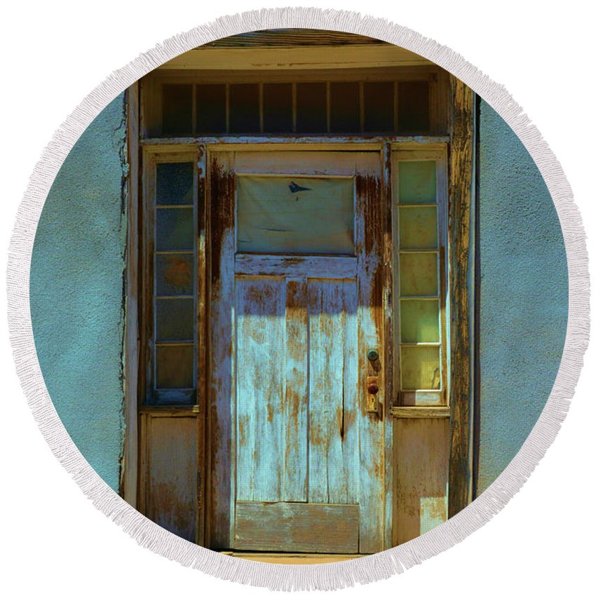 Adobe Round Beach Towel featuring the photograph Old Blue Door by Richard Jenkins