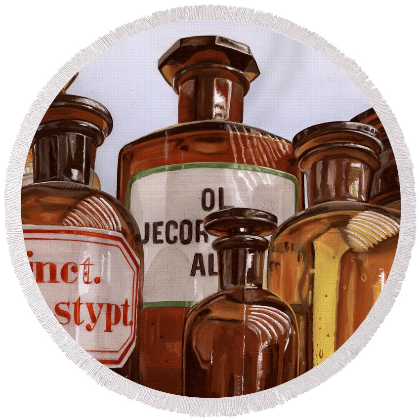 Vintage Round Beach Towel featuring the painting Old Bottles by Rob De Vries