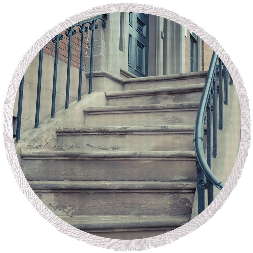 Stairs Round Beach Towel featuring the photograph Old Brownstone Staircase by Edward Fielding