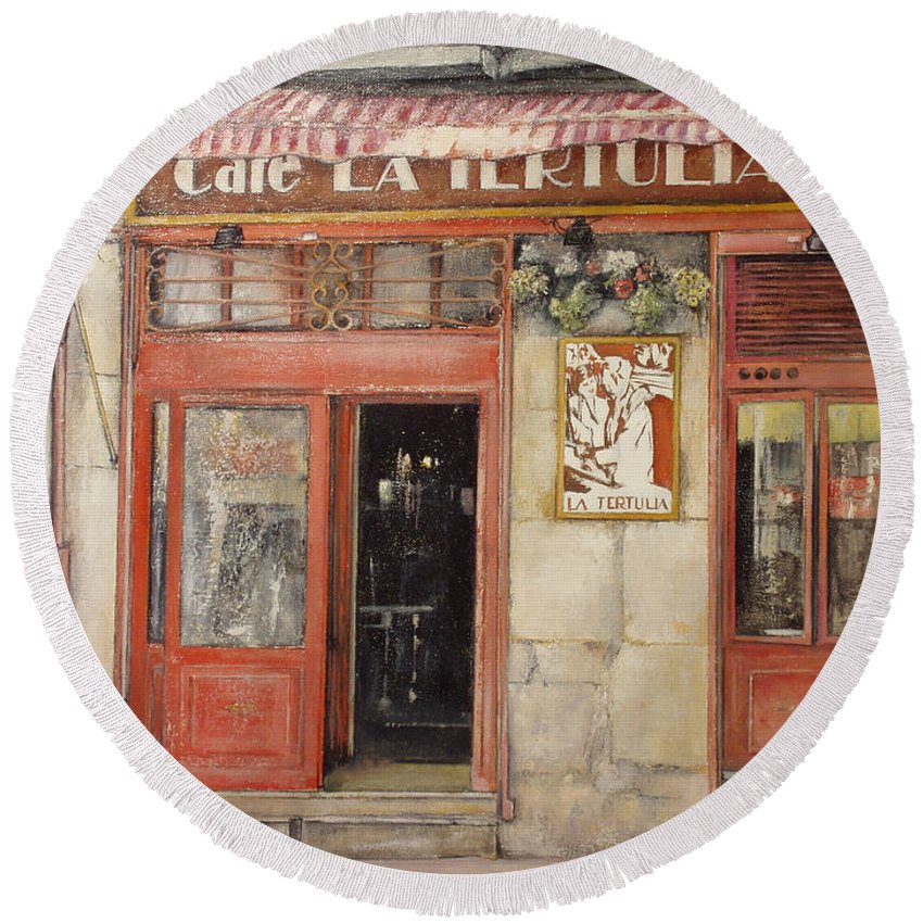 Cafe Round Beach Towel featuring the painting Old Cafe- Santander Spain by Tomas Castano