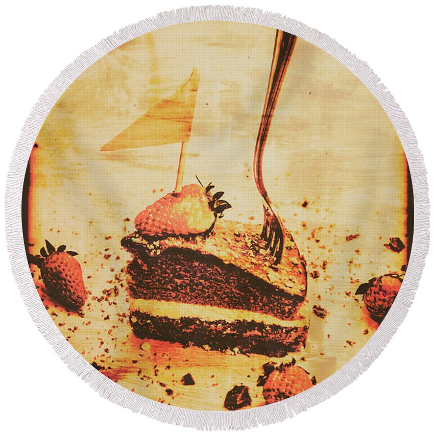 Vintage Round Beach Towel featuring the photograph Old Cake Break by Jorgo Photography - Wall Art Gallery