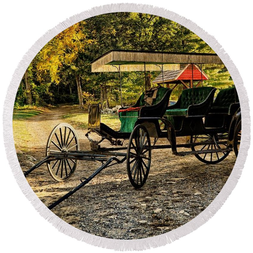 Old Cart Round Beach Towel featuring the photograph Old Cart - Old Movie Edition by Lilia D