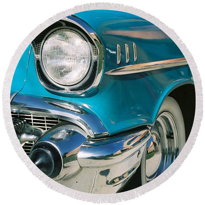 Chevy Round Beach Towel featuring the photograph Old Chevy by Steve Karol