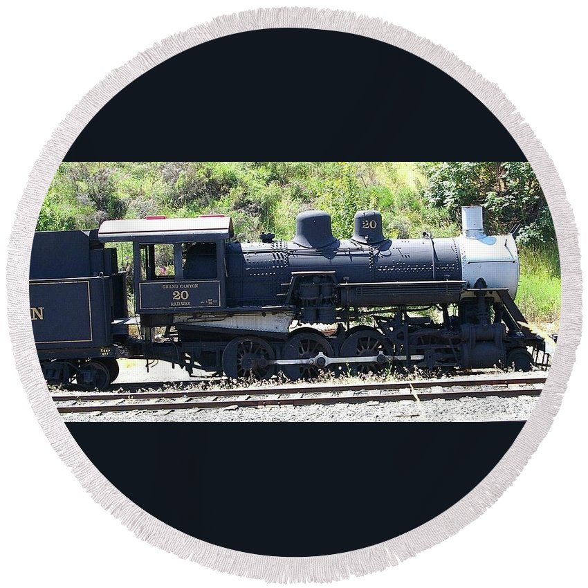 Trains Round Beach Towel featuring the photograph Old Choo Choo by Jeff Swan