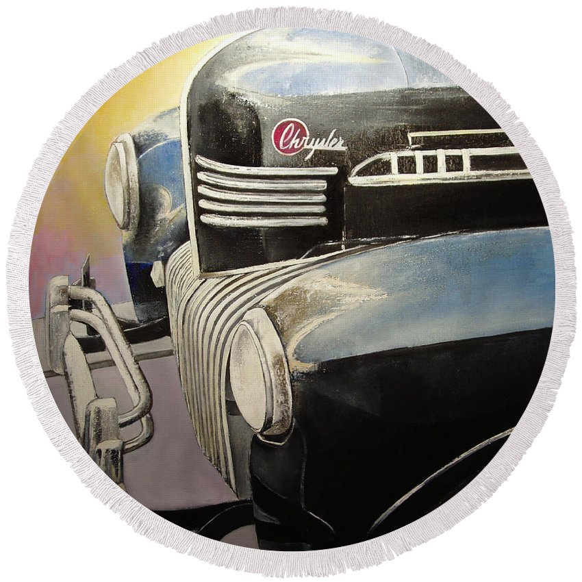 Old Round Beach Towel featuring the painting Old Chrysler by Tomas Castano