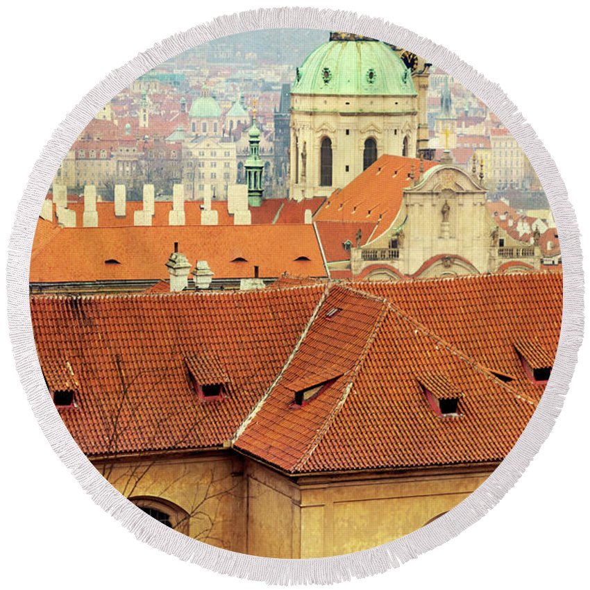 City Round Beach Towel featuring the photograph Old Church In Prague by Svetlana Sewell