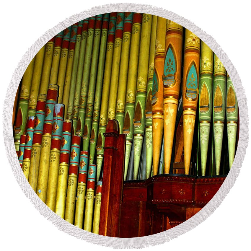 Organ Round Beach Towel featuring the photograph Old Church Organ by Anthony Jones