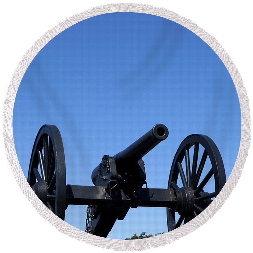 New Orleans Round Beach Towel featuring the photograph Old Civil War Cannon by Anthony Totah