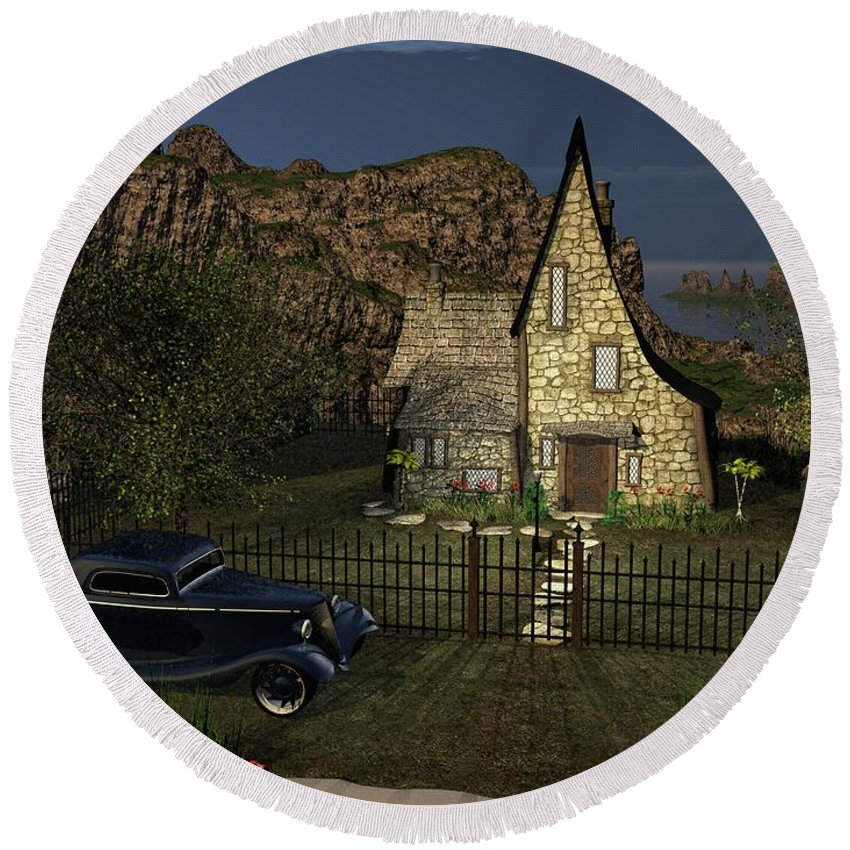 Fantasy Round Beach Towel featuring the digital art Old Cottage by Michael Wimer