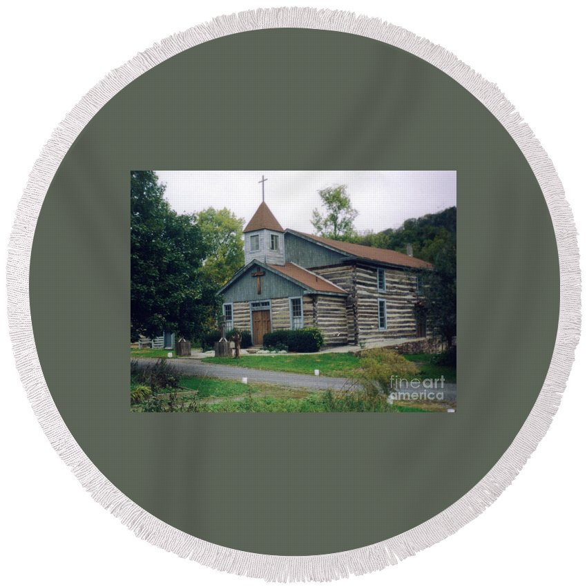 Old Country Church Prints Round Beach Towel featuring the photograph Old Country Church by Ruth Housley