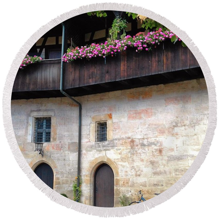 German Architecture Round Beach Towel featuring the photograph Old Court - Bamberg by Jennifer Longman