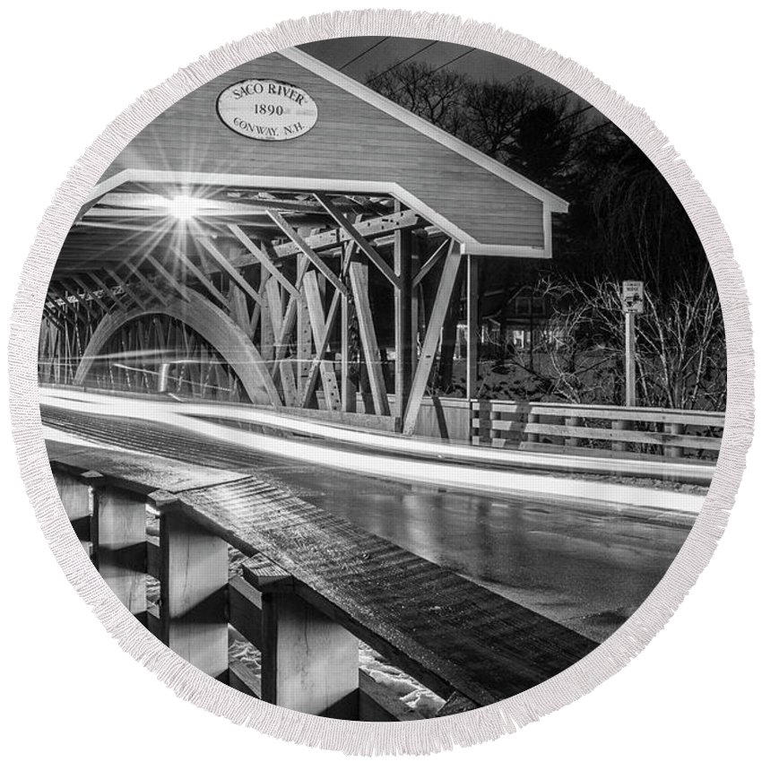 Bridge Round Beach Towel featuring the photograph Old Covered Bridge by Justin Mountain