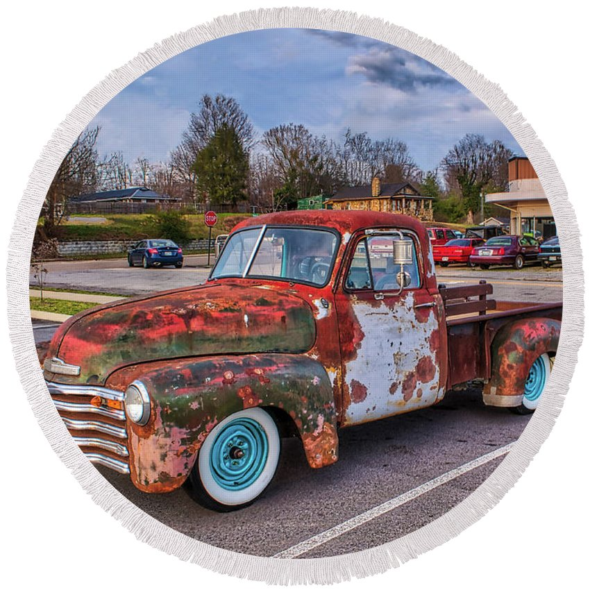 Truck Round Beach Towel featuring the photograph Old Crusty Generic by Joe Moore