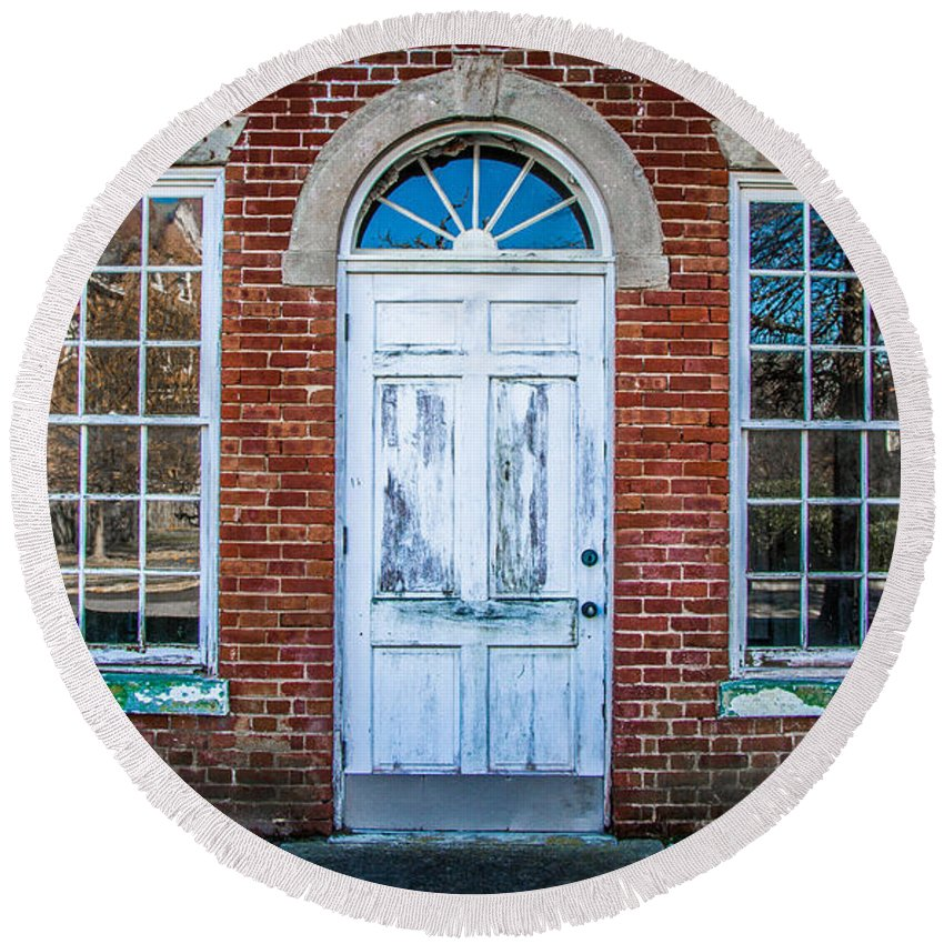 Fort Monroe Round Beach Towel featuring the photograph Old Door And Windows by Robert Anastasi