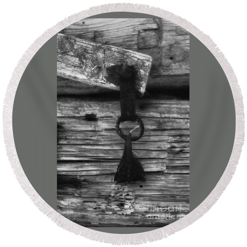 Doors Round Beach Towel featuring the photograph Old Door Latch by Richard Rizzo