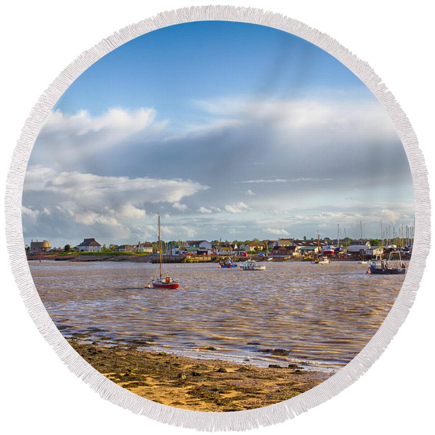 England Round Beach Towel featuring the photograph Old Felixstowe 8x10 by Leah Palmer