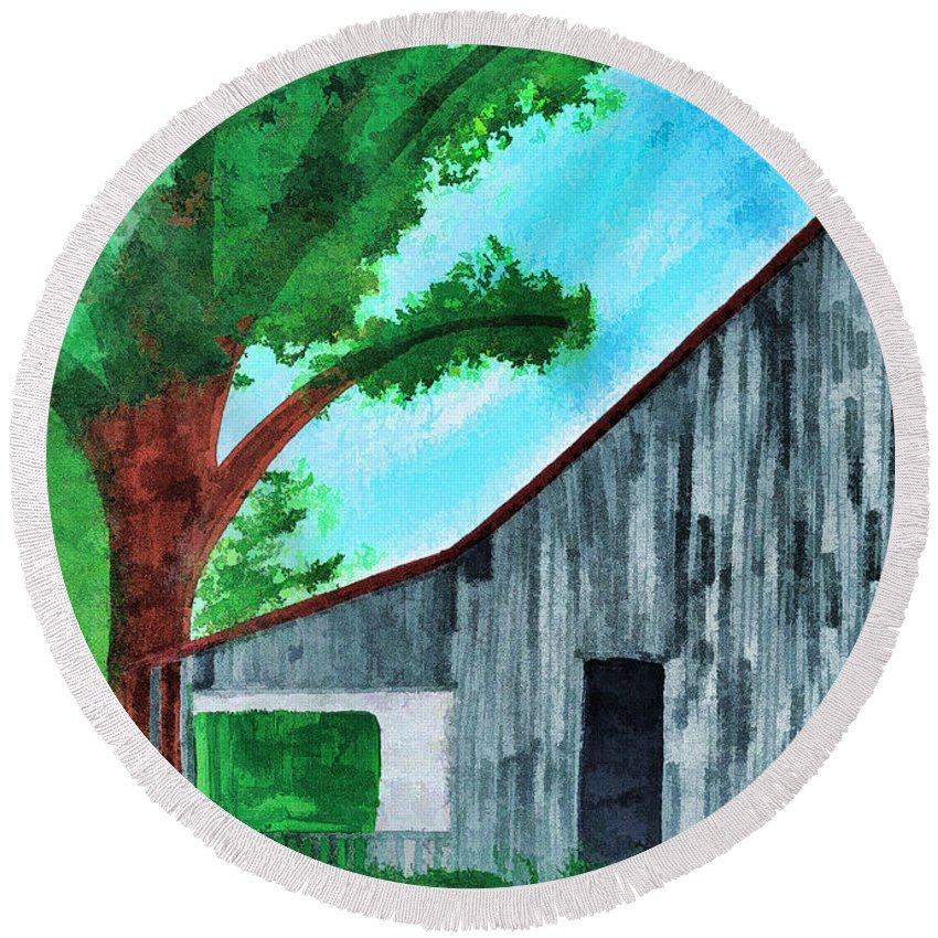 Illustration Round Beach Towel featuring the painting Old Florida Barn by D Hackett