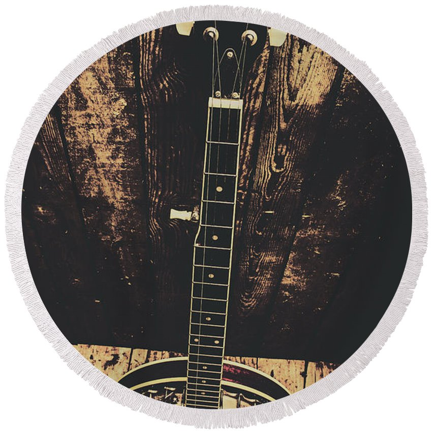 Instrument Round Beach Towel featuring the photograph Old Folk Music Banjo by Jorgo Photography - Wall Art Gallery
