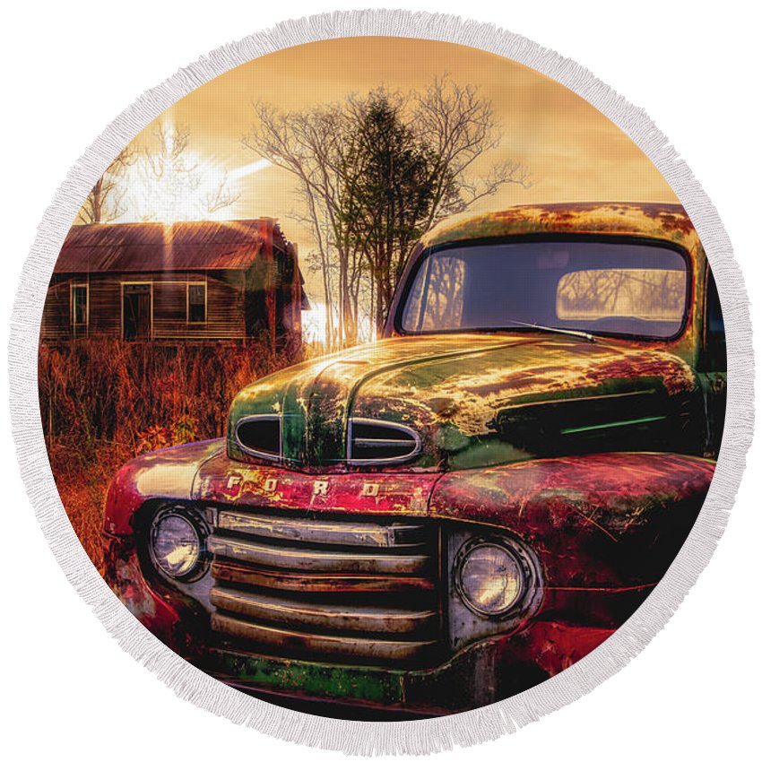 Old Ford Pickup Truck In Sunset Golds Round Beach Towel for Sale by ...