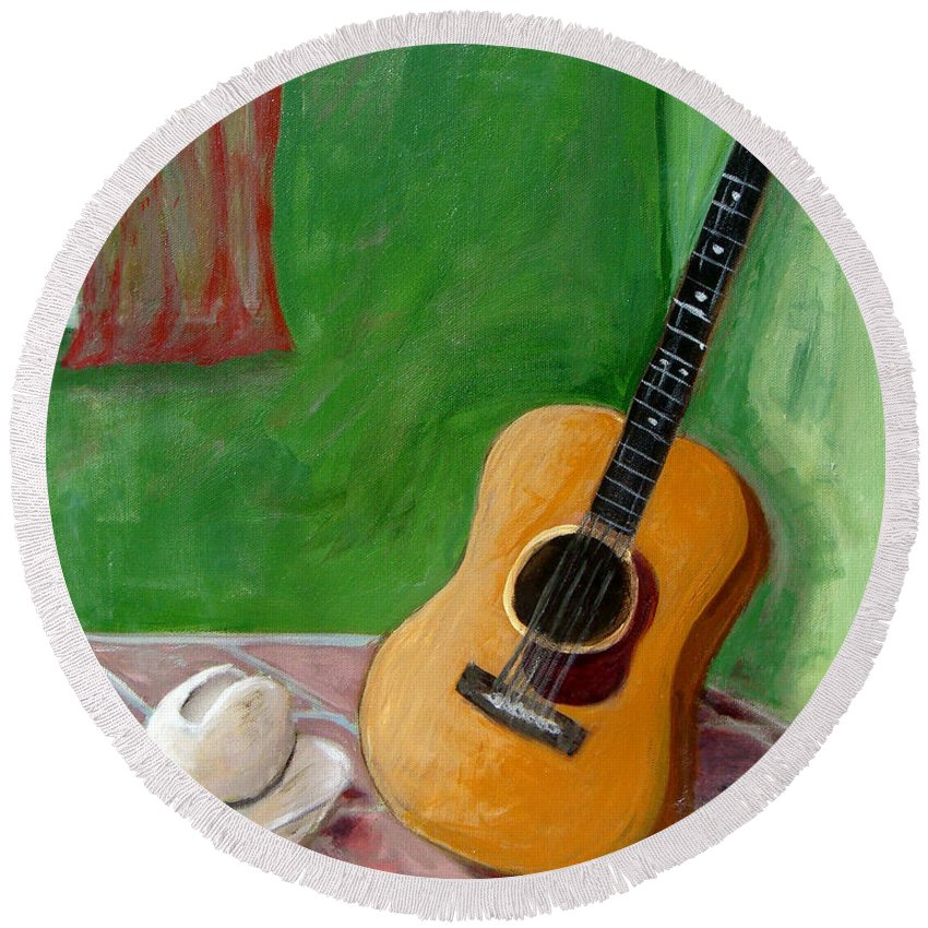 Guitar Round Beach Towel featuring the painting Old Friends by Laurie Morgan