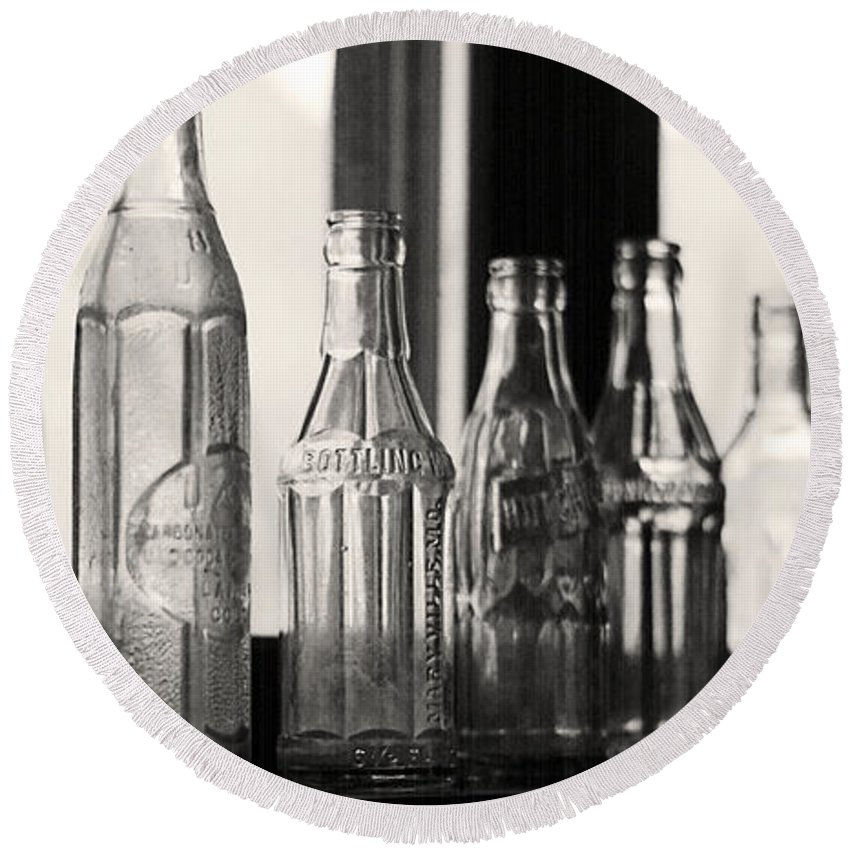 Bottles Round Beach Towel featuring the photograph Old Glass Bottles by Emily Smith
