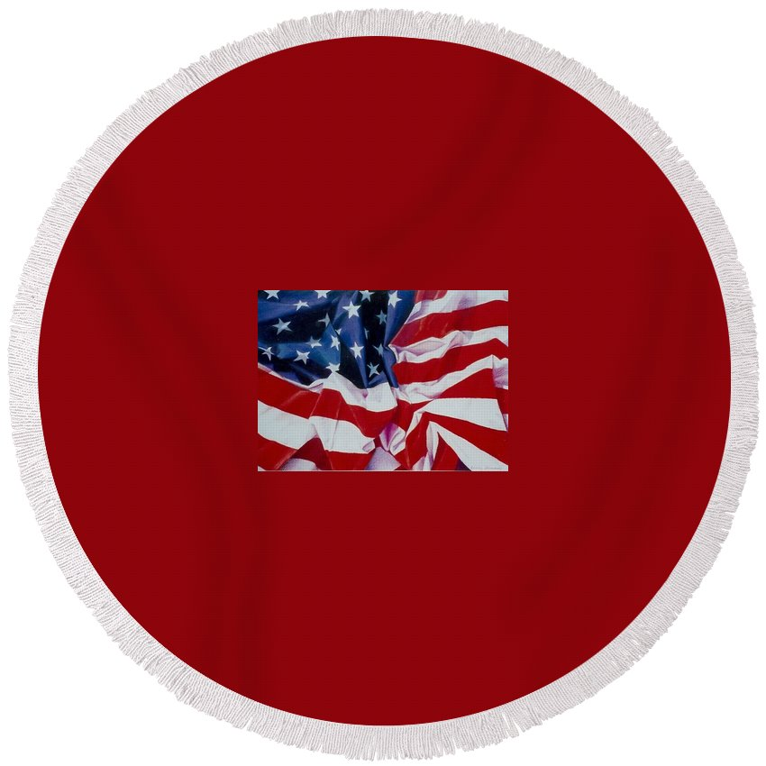 Red Round Beach Towel featuring the painting Old Glory 1 by Constance Drescher
