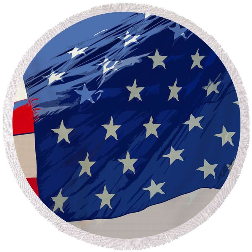 Old Glory Round Beach Towel featuring the painting Old Glory by David Lee Thompson