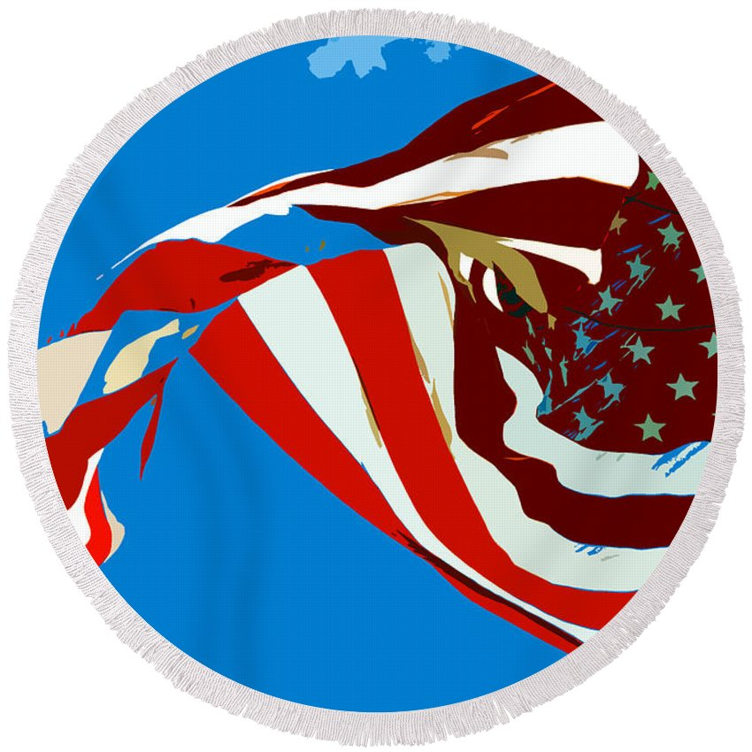 Old Glory Round Beach Towel featuring the painting Old Glory Flying by David Lee Thompson