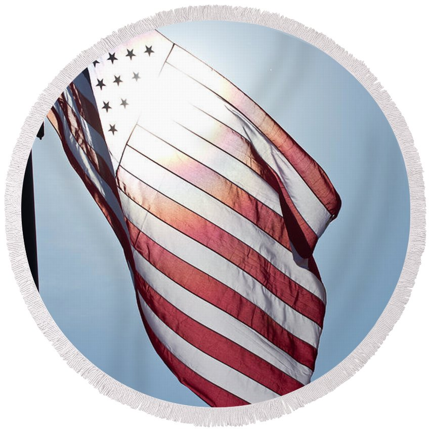 Flag Round Beach Towel featuring the photograph Old Glory - Long May She Wave by Marie Jamieson