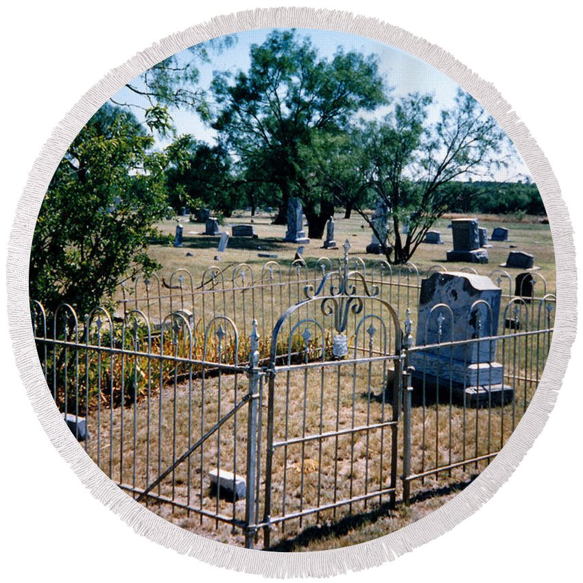 Fence Grave Headstone Stones Round Beach Towel featuring the photograph Old Grave Site 2 by Cindy New