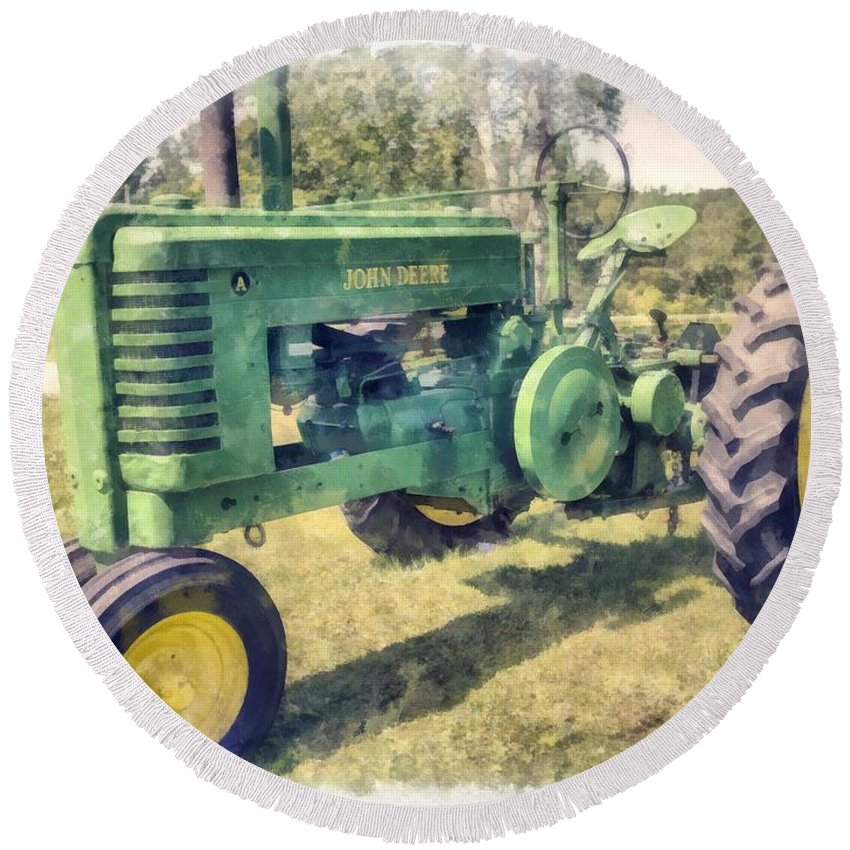 Tractor Round Beach Towel featuring the digital art Old Green Vintage Tractor Watercolor by Edward Fielding