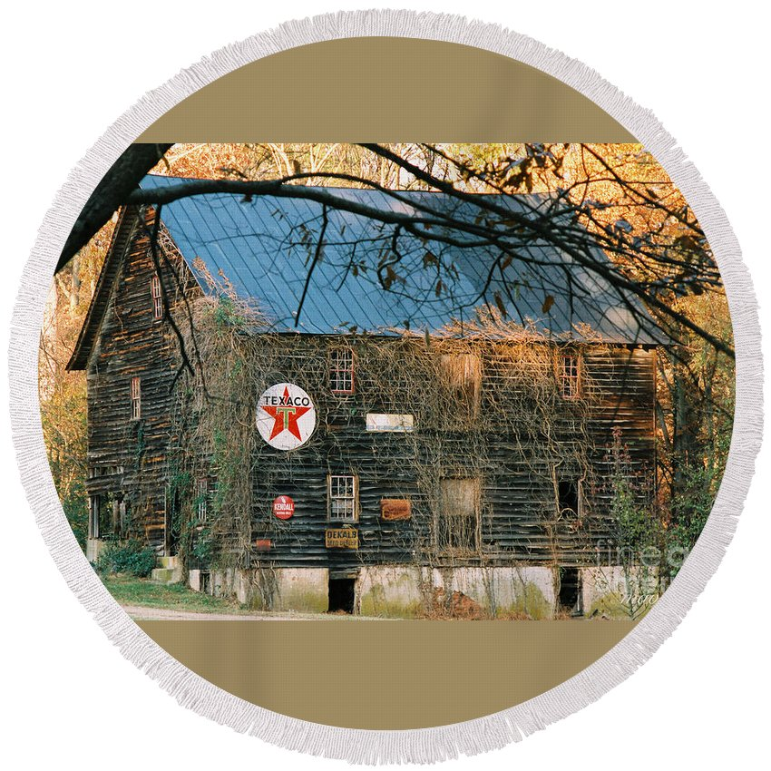 Old Round Beach Towel featuring the photograph Old Grist Mill by Marvin Averett