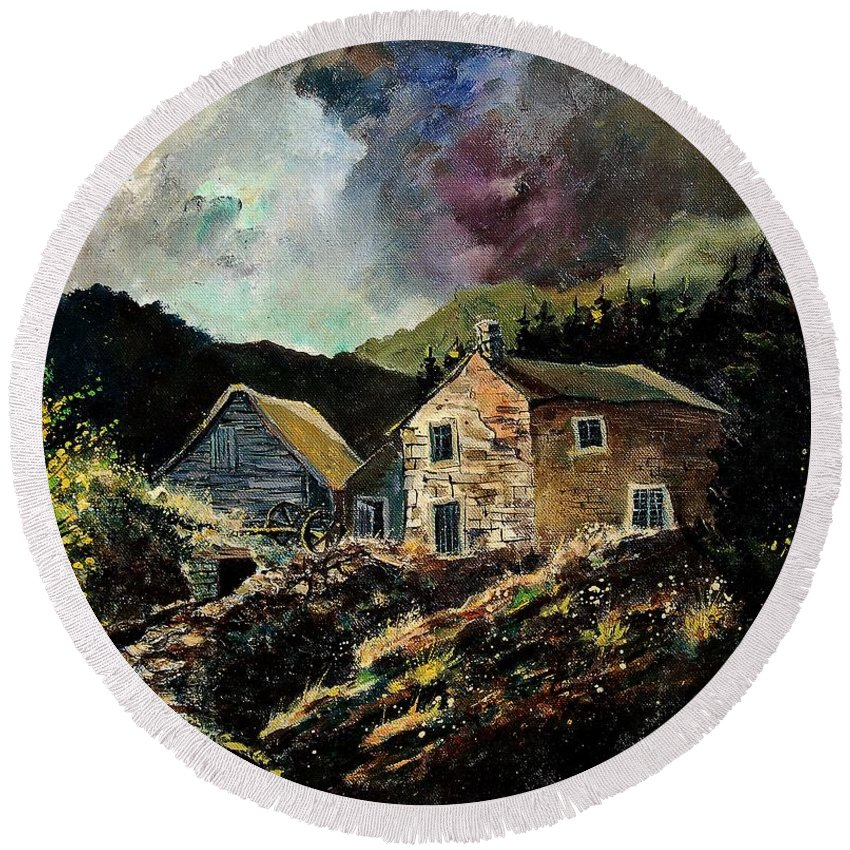 Tree Round Beach Towel featuring the painting Old Houses 5648 by Pol Ledent