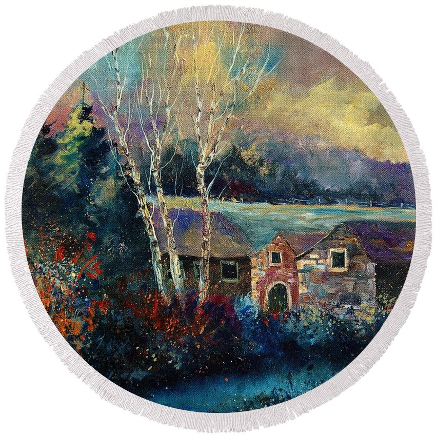 Village Round Beach Towel featuring the painting Old Houses In Hour by Pol Ledent