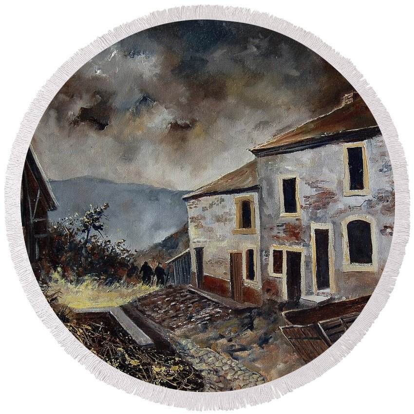 Tree Round Beach Towel featuring the painting Old Houses by Pol Ledent