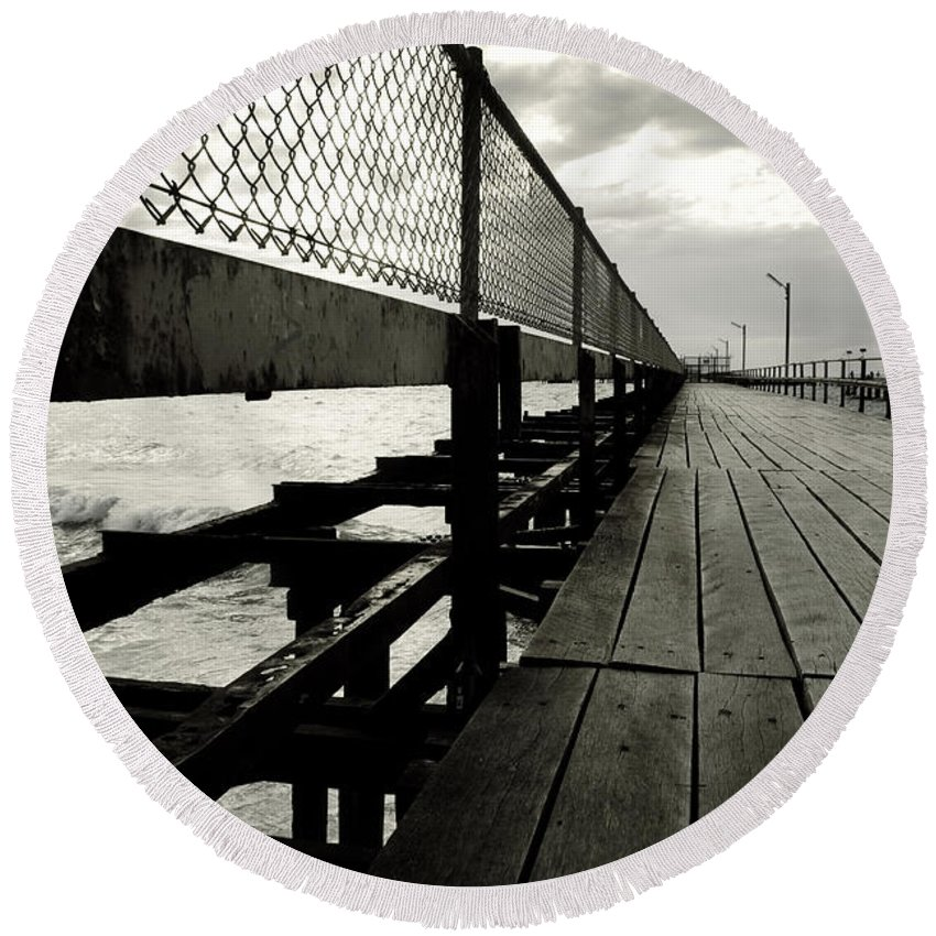 Old Round Beach Towel featuring the photograph Old Jetty by Kelly Jade King