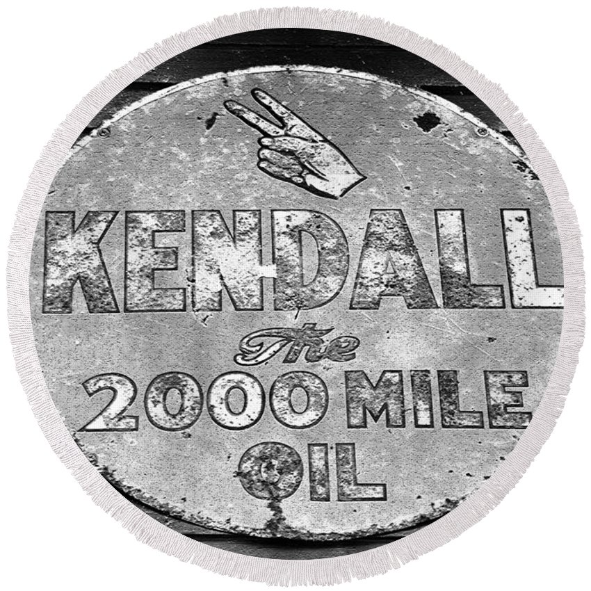 Kendal Motor Oil Sign Round Beach Towel featuring the photograph Old Kendal Sign by David Lee Thompson